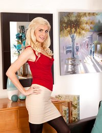 Blonde milf strips down and..